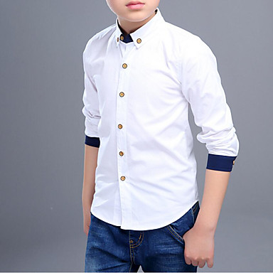 baratos Camisas para Meninos-Infantil Para Meninos Simples Sólido Retalhos Manga Longa Algodão Camisa Branco