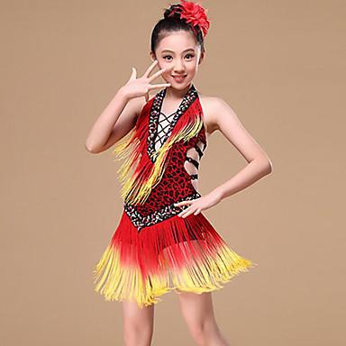 Taniec brzucha / Taniec latynoamerykański Suknie Dla dziewczynek Szkolenie / Wydajność Poliester Frędzel / Bandażowe Bez rękawów Naturalny Ubierać