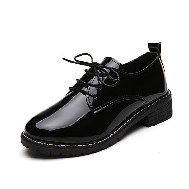 Women's Shoes PU(Polyurethane) Fall Comfort Loafers & Slip-Ons Creepers Round Toe Tassel Black