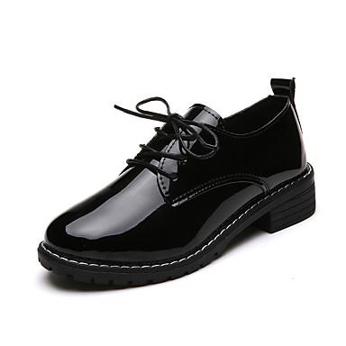 Women's PU(Polyurethane) Fall Comfort Loafers & Slip-Ons Creepers Round Toe Tassel Black