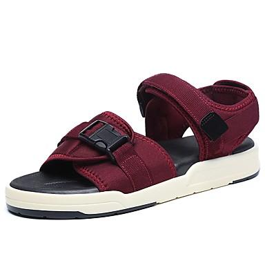 billige Sandaler til damer-Unisex Kanvas Forår sommer Komfort Sandaler Flodsko Flade hæle Sort / Vin