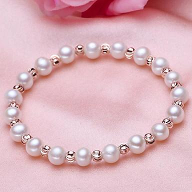 abordables Bracelet-Bracelet à Perles Femme Perle Perle d'eau douce Plaqué argent Perle d'eau douce simple Naturel Mode Bracelet Bijoux Blanc Forme de Cercle pour Cadeau Quotidien