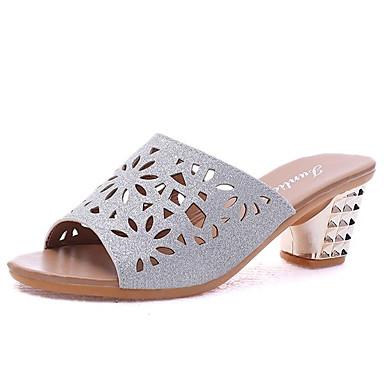 Pentru femei Pantofi PU Vară Pantof cu Berete Sandale Toc Jos Auriu / Argintiu