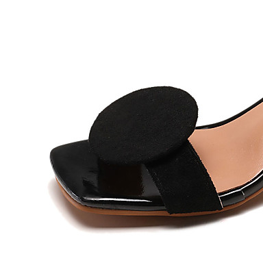 Confort Verano Sandalias Rojo 06683638 Aterciopelado Cuadrado Caqui Tacón Negro Zapatos PU Mujer q6IUna