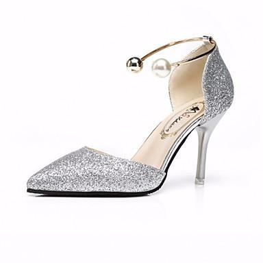 4dd250b1e8f Women s PU(Polyurethane) Fall Comfort   Basic Pump Heels Stiletto Heel Gold    Black   Silver   Wedding