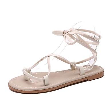 Mulheres Sapatos Couro / Courino Primavera Verão Conforto Sandálias Sem Salto Ponta Redonda Preto / Bege