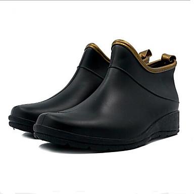Mujer Plano de Primavera Dedo Tacón lluvia Botas Negro Semicuero Botas verano 06684276 redondo Zapatos pqrzpwf