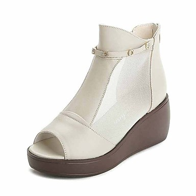 1cf70ee4616947 Printemps semelle Hauteur Talons 06663841 Noir Blanc Chaussures Basique de  Escarpin Sandales Femme Cuir compensés compensée ...
