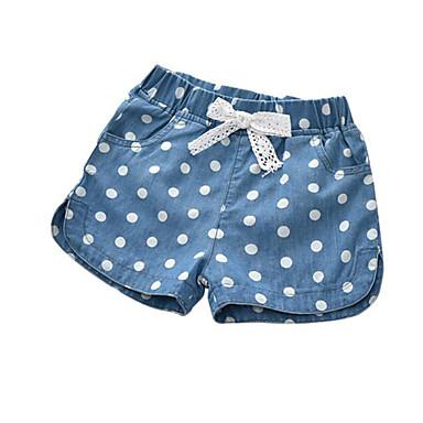 baratos Calças & Leggings para Meninas-Infantil Bébé Para Meninas Básico Diário Poá Laço Estampado Algodão Shorts Azul