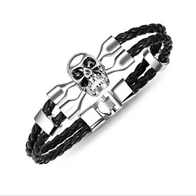 baratos Bangle-Bracelete Pulseiras de couro Geométrico Corda Caveira Vintage Pele Pulseira de jóias Preto / Prata / Marron Para Presente Diário
