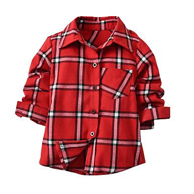 Dzieci / Brzdąc Dla chłopców Aktywny / Podstawowy Szkoła Nadruk / Kolorowy blok Nadruk Długi rękaw Bawełna Koszula