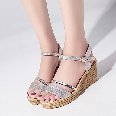 Mujer Tacón Cuña Confort Sandalias Zapatos Plata Dorado 06673908 PU Verano rxXrwU