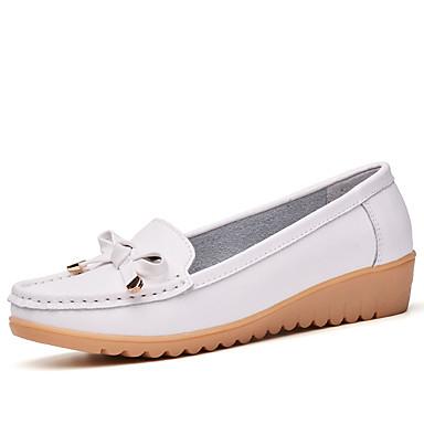 Pentru femei Pantofi Piele Toamna iarna Confortabili / Mocasini Pantofi Flați Toc Platformă Negru / Portocaliu / Albastru / Party & Seară