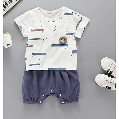 Bebelus Unisex Șic Stradă Ieșire Dungi Manșon scurt Set Îmbrăcăminte