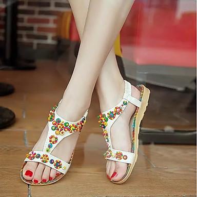 Plano Confort Zapatos Camello Mujer 06713336 Blanco Color PU Sandalias Verano Tacón f7qn6wZT