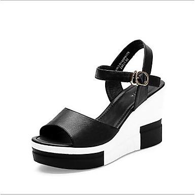 Hauteur semelle de Blanc compensée 06700481 Bout Sandales Femme Cuir Nappa Eté Noir ouvert Chaussures Confort AYgqFA