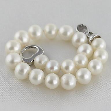 abordables Bracelet-Bracelet à Perles Femme Perle Perle d'eau douce Plaqué argent Perle d'eau douce dames simple Mode Elégant Bracelet Bijoux Blanc Forme de Cercle pour Cadeau Quotidien