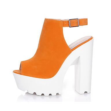 Pentru femei Pantofi Țesătură Vară Pantof cu Berete Sandale Toc Îndesat Pantofi vârf deschis Cataramă Verde / Albastru Deschis / Culoarea