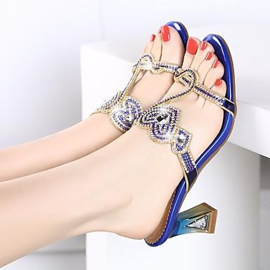 06653030 Sandales Printemps Polyuréthane Gladiateur Bout Paillette Femme Or Chaussures Strass ouvert Brillante Cristal Eté Talon cristal Fqxa1