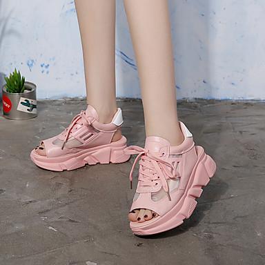 Grille Creepers rond Rose Basket Femme 06694436 respirante Bout Marche Noir Blanc Eté Polyuréthane Confort Chaussures SAxqwA