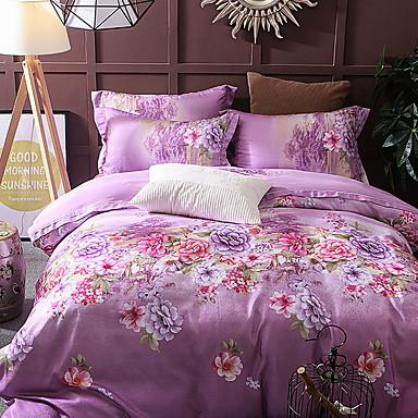 ensembles housse de couette fleur g om trique polyester. Black Bedroom Furniture Sets. Home Design Ideas
