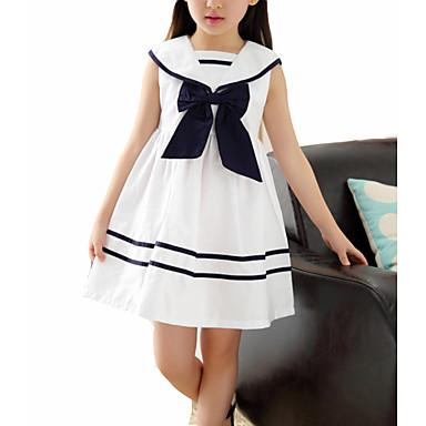 Dzieci Dla dziewczynek Słodkie Kolorowy blok Bez rękawów Sukienka