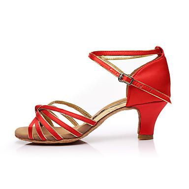 Damskie Buty do latino Satyna Sandały / Na obcasie Łączenie Obcas do wyboru Personlaizowane Buty do tańca Czerwony / Domowy