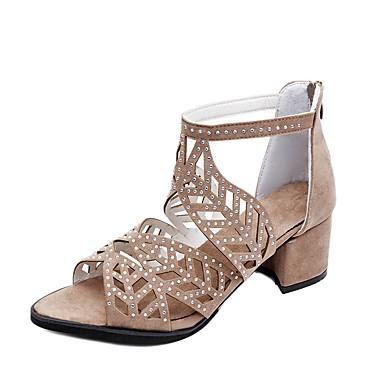 Pentru femei Pantofi Piele de Căprioară / PU Vară Confortabili / Pantof cu Berete Sandale Plimbare Toc Îndesat Pantofi vârf deschis Negru