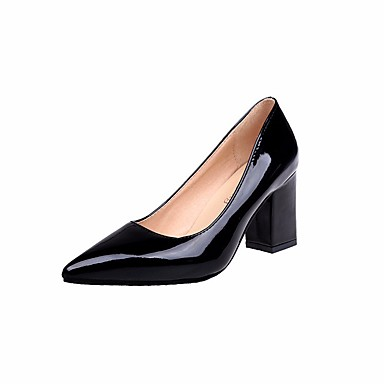 Women's Shoes PU(Polyurethane) Spring / Fall Comfort / Basic Pump / Heels Chunky Heel White / Pump Black / Pink 2816b8
