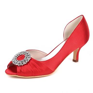 Pentru femei Pantofi Satin Primavara vara Balerini Basic pantofi de nunta Toc Mic Pantofi vârf deschis Piatră Semiprețioasă / Drapat Părți