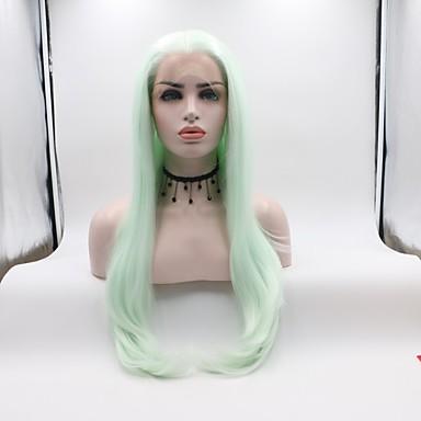 Lănțișoare frontale din sintetice Buclat Frizură în Straturi Păr Sintetic Curler & îndreptare Verde Perucă Pentru femei Lungime medie Față din Dantelă Verde mentă