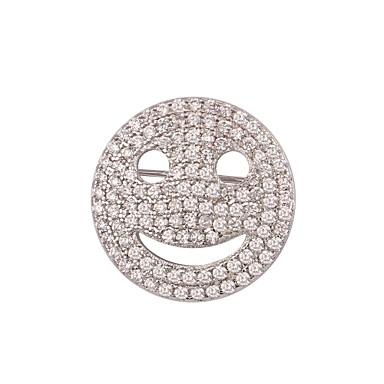 baratos Bijuteria de Mulher-Broches Rosto senhoras Fashion Broche Jóias Dourado Prata Para Diário