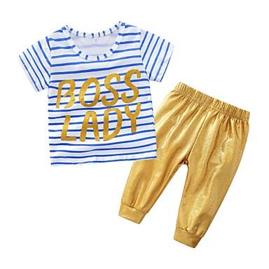 billige Sett med babyklær-Baby Unisex Afslappet Daglig Stribet Kortærmet Normal Bomuld / Imiteret Læder Tøjsæt Blå