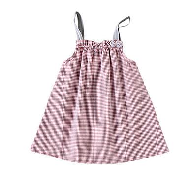 billige Babykjoler-Baby Pige Basale Ensfarvet Uden ærmer Kjole Lyserød
