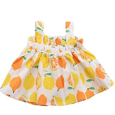 Dzieci Dla dziewczynek Podstawowy Owoc Bez rękawów Poliester Bluzka Żółty 100
