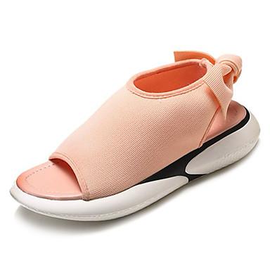 Damskie Obuwie Materiał Lato Comfort Sandały Płaski obcas Buty z wystającym palcem White / Black / Różowy