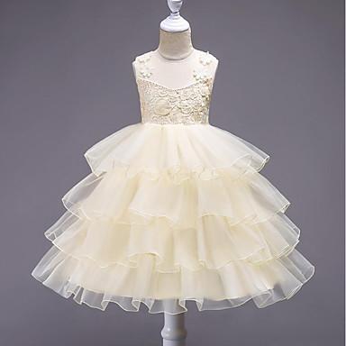Χαμηλού Κόστους Ρούχα για Κορίτσια-Παιδιά Κοριτσίστικα Ενεργό Πάρτι Εξόδου Γεωμετρικό Πολυεπίπεδο Στάμπα Αμάνικο Ως το Γόνατο Βαμβάκι Πολυεστέρας Φόρεμα Ανθισμένο Ροζ / Χαριτωμένο