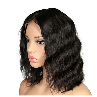 Włosy naturalne remy Koronkowy przód Peruka Włosy brazylijskie Falisty Peruka Fryzura Bob / Krótki Bob 130% Damskie Krótki Peruki koronkowe z naturalnych włosów
