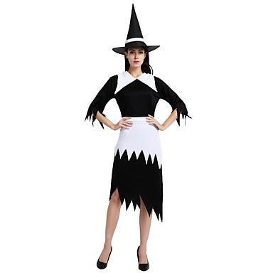 Czarownica Kostium Damskie Halloween Halloween Bal maskowy Dzień Zmarłych Festiwal/Święto Stroje Czarny Solidne kolory Halloween