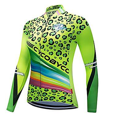 CYCOBYCO Dame Langærmet Cykeltrøje - Grøn Leopard Plusstørrelser Cykel Sweatshirt Trøje Toppe Hurtigtørrende Refleksbånd Sport Polyester 100% Polyester Bjerg Cykling Vej Cykling Tøj / Elastisk