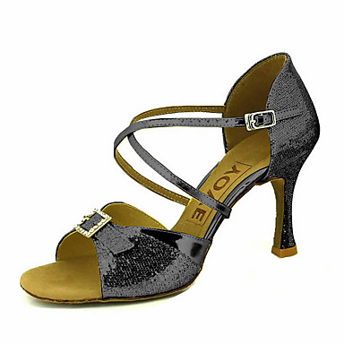 Mulheres Sapatos de Dança Latina / Sapatos de Salsa Glitter / Courino Sandália / Salto Pedrarias / Presilha / Cadarço de Borracha Salto