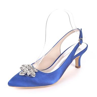 billige Toppsalg-Dame bryllup sko Liten hæl Spisstå Rhinsten Sateng Basispumps Vår sommer Marineblå / Lysebrun / Krystall / Bryllup / Fest / aften / EU40