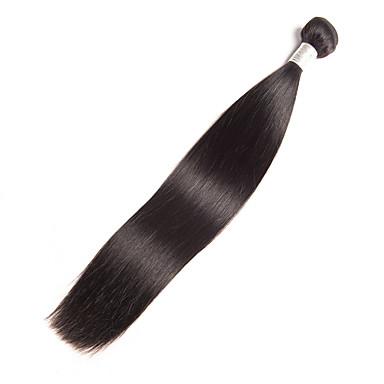 baratos Extensões de Cabelo Natural-1 pacote Cabelo Brasileiro Liso 10A Cabelo Natural Remy Natural Tramas de cabelo humano Macio Sedoso Melhor qualidade Extensões de cabelo humano Mulheres / Não processado