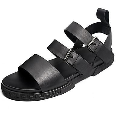 Męskie Buty Skórzany Lato Comfort Sandały Black