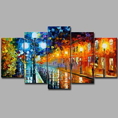 abordables Toiles-Imprimé Impressions sur toile roulées - Paysage Romance Contemporain Moderne Cinq Panneaux Art Prints