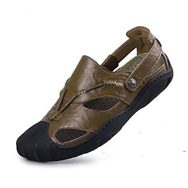 Męskie Buty Skóra Lato Comfort Sandały Black / Brown / Khaki