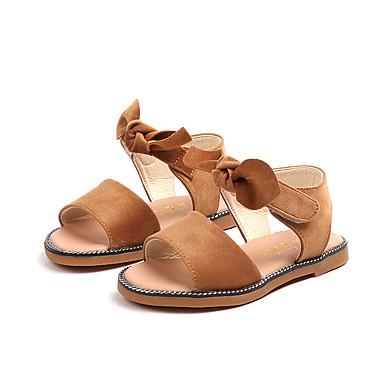 Fete Pantofi Piele de Căprioară Vară Confortabili Sandale Plimbare Funde / Bandă Magică pentru Copii Negru / Maro / Roz