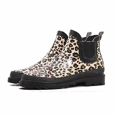 Tacón de Otoño lluvia Zapatos 06684052 Látex Mujer Leopardo Botas Botas Bajo ICw0HT1q
