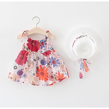 Dziecko Dla dziewczynek Podstawowy Kwiaty Bez rękawów Sukienka / Brzdąc