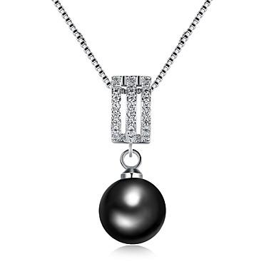 Femme Pendentif De Collier Perle Plaque Argent Perle Noire Dames